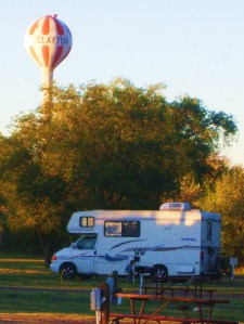 Gypsy Lee settled in for the night in Clayton, New Mexico. Photo by Pat Bean
