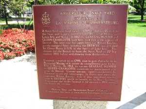 Historical marker located in the Amherstberg Navy Yard -- Photo by Pat Bean