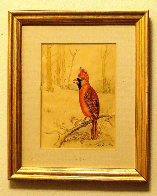 This simple colored-pencil drawing of a cardinal holds all my past memories. I hung it on my wall this morning.