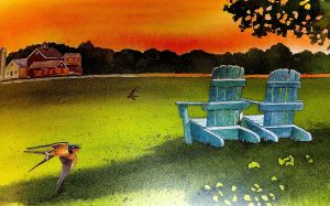 One of the watercolors by Julie Zickefoose included in the book.