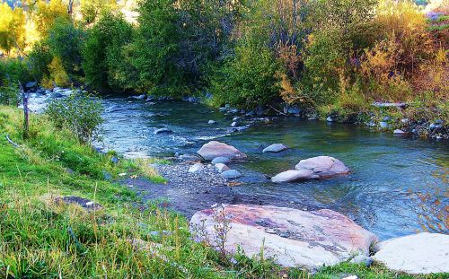 The Blanco River, Colorado. Notice how the details of light against shadow, hard rocks against flowing water are what make this an appealing picture. -- Photo bu Pat Bean