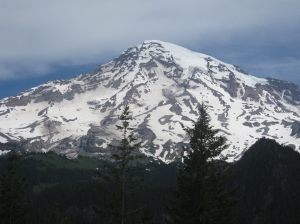 Perhaps on a clear day, Mercy can see Mount Rainier. -- Photo by Pat Bean