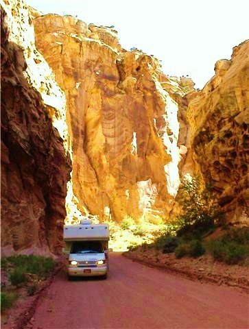 Gypsy Lee in Capitol Reef Gorge in Utah. during an escape I took with my oldest son during Gypsy Lee's first year on the road. -- Photo by D,C, Bean