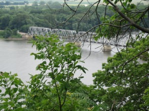 The Mark Twain Bridge across his beloved Mississippi River in Hannibal, Missouri, -- Photo by Pat Bean
