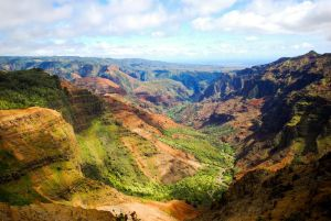 Back in my youthful 40s, I did a couple of 10-miile hikes  in Kauai's Waimea Canyon, aka Hawaii's Grand Canyon. -- Wikipedia Photo