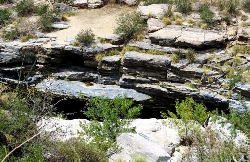 Looking down from the road at one of the water-filled pools in Sabino Canyon. -- Photo by Pat Bean