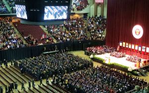 My granddaughter was one of 4,980 students who graduated from Texas A&M on December 13. She's sitting on the front row on the left, fifth from right.  -- Photo by Pat Bean