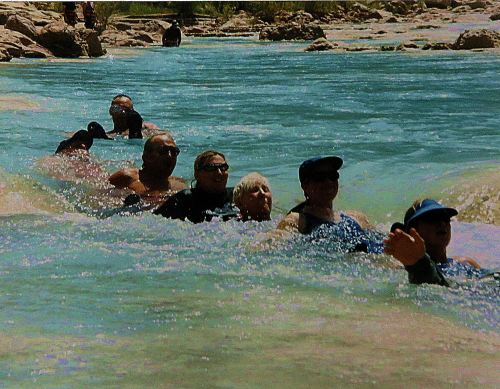 The first time I  rafted down the Grand Canyon, the Little Colorado River entrance to the mightier Colorado River was red and thick with mud from recent upstream rains. The second time it was crystal clean, and we floated in its current. I'm the middle blonde, and I was 60 when the photograph was taken.