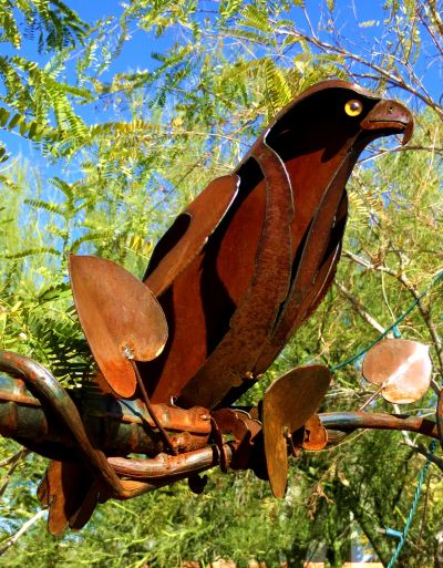Metal bird sculpture at Tohono Chul Park in Tucson. -- Photo by Pat Bean