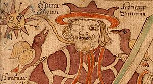 Huginn and Muninn sit on Odin's shoulders in an illustration from an 18th-century Icelandic manuscript.