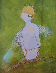 A cattle egret with attitude -- my art of the day.