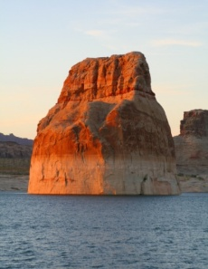 Lone Rock at Lake Powell: I camped in sight of this rock on a Lake Powell beach the first night of my RV travels back in 20004. -- Photo by Pat Bean
