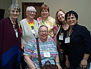 Some of my writing sisters during the recent Story Circle Network. -- Smart Phone photo taken by another sister.