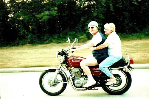 My mother riding on the back of my brother's motorcycle when she was in her 70s. She was a real character, worthy of being a role mode for my fictional characters.