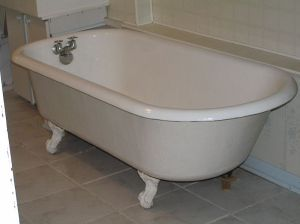 I don't care who invented it, but of all the bathtubs out there the best is the claw-footed, whose shape invites one to soak and read at the same time. I can't tell you how many books I've read over the years that ended up waterlogged.  A bathtub was the only thing I truly missed in my nine years of living on the road in Gypsy Lee. -- Wikimedia photo