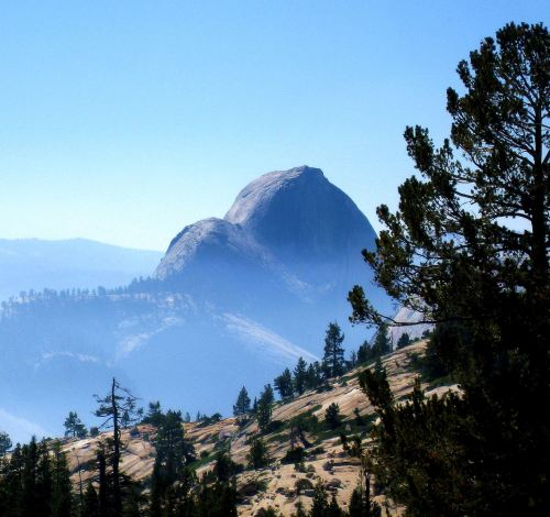 """Yosemite's Half Dome, which Nevada Barr wrote about in """"High Country."""""""