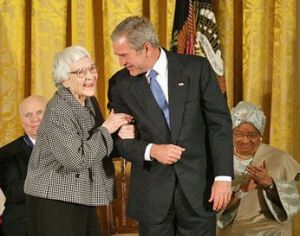 Nelle Harper Lee is awarded the Presidential Medal of Freedom, November 5, 2007 -- Wikipedia photo