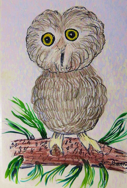 While I may sketch an owl now and then, I'm no night owl. Just call me an early bird. -- Illustration by Pat Bean