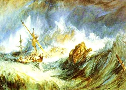 """A Storm -- Shipwreck"" by Joseph Mallord William Turner. Turner's many storm paintings, like this one, capture both the fury of Mother Nature and her amazing light. He's one of my favorite artists."
