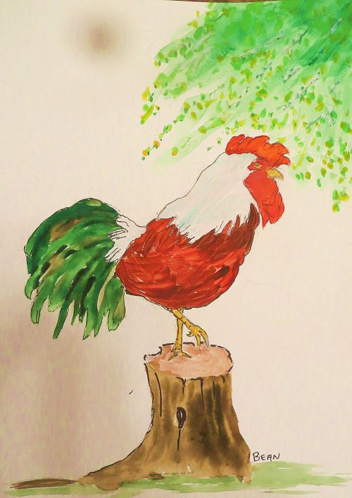 The rooster walks with intent, wearing indifference as his charm. -- Illustration by Pat Bean