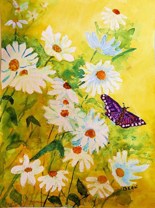 Yesterday's Art: I think the reason I'm always sticking butterflies in my paintings is because I see them as an image of transformation -- and connect. -- Art by Pat Bean