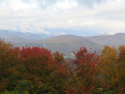 Even gray days are colorful on a fall day traveling the Blue Ridge Parkway in the Appalachian Mountains. -- Photo b Pat Bean