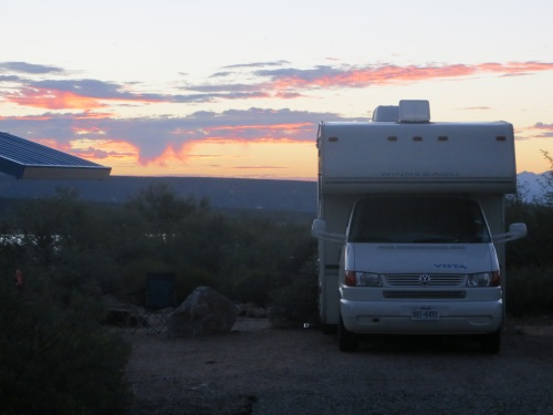 Gypsy Lee at sunrise at Cholla Campground in the Tonto Basin about 35 miles north of Globe, Arizona.