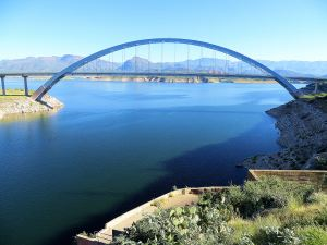 Roosevelt Lake Bridge is the longest two-lane, single span, steel arch bridge in North America.  -- Photo by Pat Bean