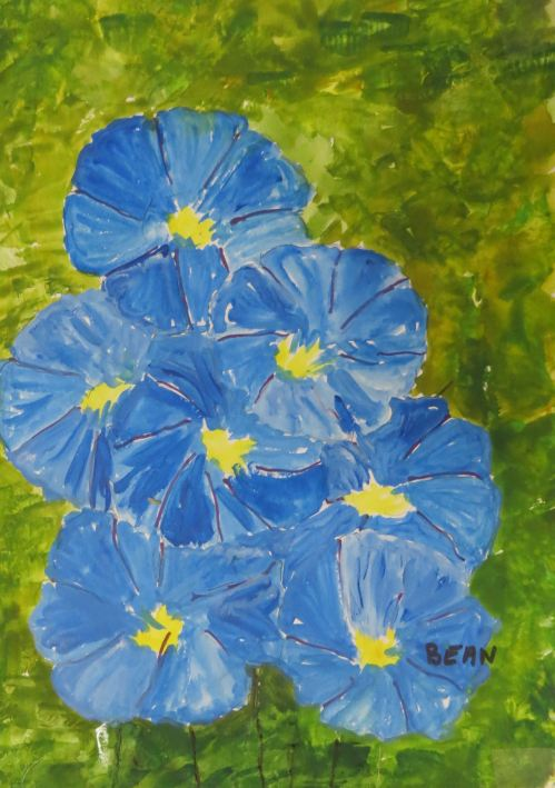 Blue morning glories. -- Art by Pat Bean