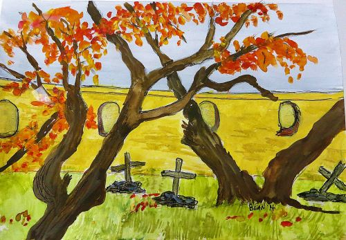 The old cemetery at Tumacacori National Park south of  Tucson. Drawing by Pat Bean
