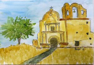 The church at Tumacacori. -- Drawing by Pat Bean