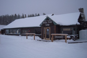 The Smiley Creek Lodge on a snowy winter day.