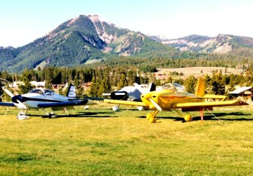 The Smiley Creek airport with the scenic Sawtooth Mountains in the background.