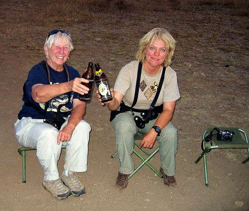 Kim and I with our Tusker's beer after a long, dusty day.
