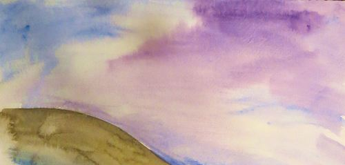 "I'm currently reading, ""We Wanted to be Writers: Life, Love, and Literature at the Iowa Writers' Workshop,"" -- and loving it. I was fascinated by how many writers also wanted to be artists but chose writing -- which sort of fits me, too. This quick watercolor was part of a sky exercise I did a few years ago."