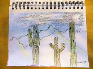 My daughter's West Tucson backyard is full of cactus, but this sketch of saguaros was made from a view of the Catalina Mountains closer to  my East Tucson nest.