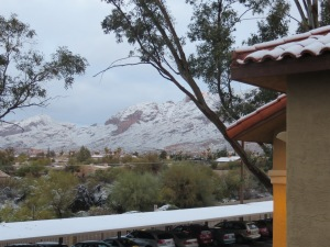A winter view of the Catalinas from the east side of my patio table. -- Photo by Pat Bean
