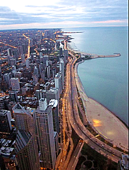 Chicago, from the top of the Hancock Building. Jan Morris wrote about the city, as have I.  -- Photo by Pat Bean