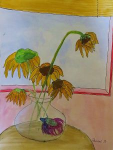 And this is a piece I agonized over for days because I had a bright idea of a fish in a bowl of flowers, and which in my opinion is a total flop.