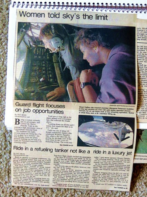 During my journalistic career, I wrote thousands of stories some of which I kept, like this one about the Utah Air National Guard encouraging women to join up For this assignment, I got to ride in a refueling tanker and watch over a crewman's shoulder as he refilled an F-16. And on the way back, we flew over the Grand Canyon. Did I mention how much I loved my job.