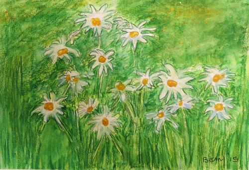 Daisies dancing in the sunlight. -- Art by Pat Bean