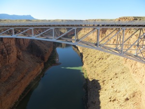 Looking across at the Colorado River as it flows beneath the new Navajo Bridge. -- Photo by Pat Bean