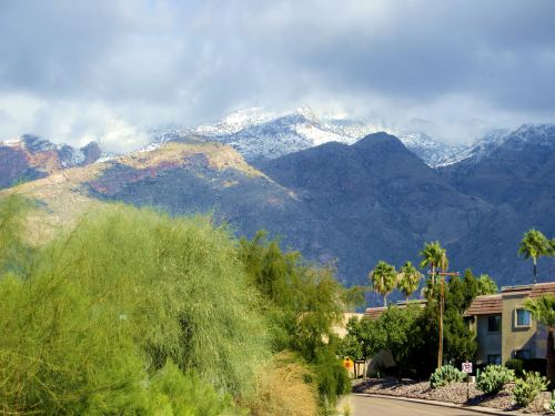 The view of the Catalina Mountains this morning from the parking lot of my apartment complex. -- Photo by Pat Bean