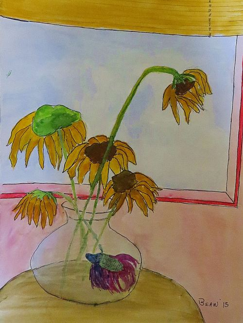 While writing is usually aways at the top of my daily priority list, piddling with my art jumps around on the list. -- Painting by Pat Bean