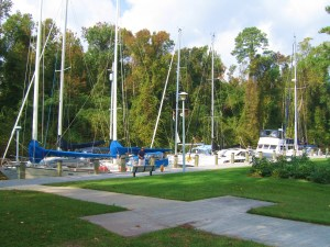 Sailboats on the Great Dismal Swamp behind the North Carolina Welcome Center off Highway 17.  Photo by Pat Bean