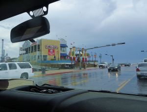 I snapped this photo of Bubba Gump;s on Galveston's Pleasure Pier on our way back along the Sea Wall after lunch. As you can see, it was still raining. -- Photo by Pat Bean