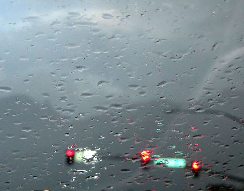 This was the rainy day view through the windshield of my car when I left Tucson a week ago.  -- Photo by Pat Bean