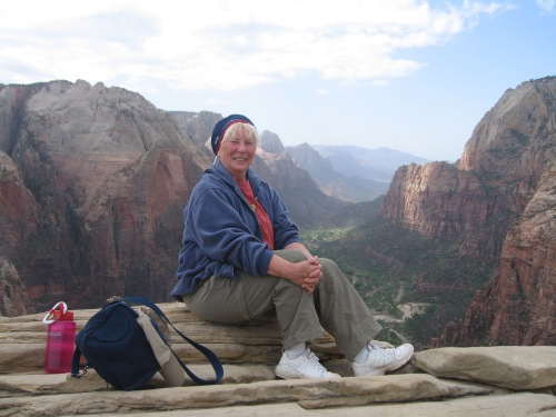 This was about my 30th time to sit on top of Angels Landing in Zion. I was never injure on the hike, which many people are afraid to take, because I always left my klutziness behind. I now need to learn how to do that on flat ground. -- Photo by Kim Perrin
