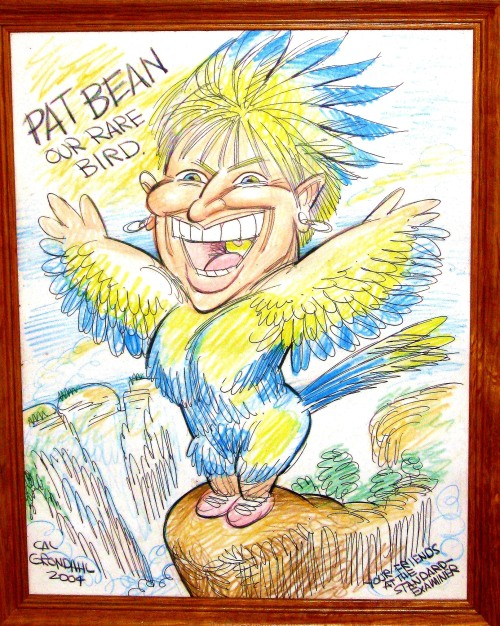 My friends at the Standard-Examiner, where I ended my 37-year Journalist career gave me this at my retirement party. It was drawn by the newspaper's cartoonist Cal Grondal -- and I love it The image is of me standing on the top of Angel's Landing in Zion as a bird to note my birdwatching passion. It is different -- and I love it.