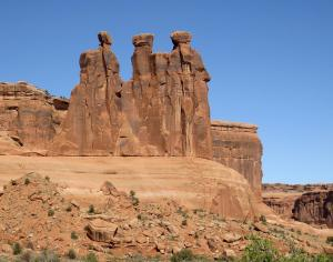 The three gossips, one of my favorite landmarks at Arches. -- Photo by Pat Bean